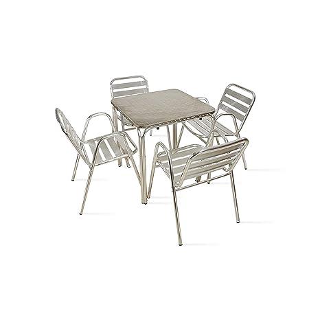 Tavoli Da Giardino In Alluminio Amazon.Boutique Giardino Tavolo Da Giardino Quadrata In Alluminio 4