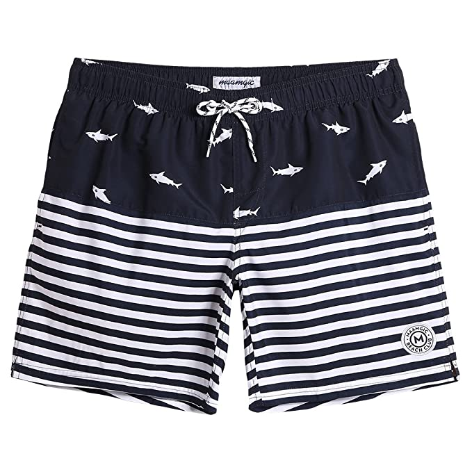 006f9a56c1e10 MaaMgic Mens Quick Dry Shark and Striped Swim Trunks with Mesh Lining  Swimwear Bathing Suits 855555