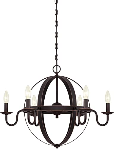 Westinghouse Lighting 6303300 Brixton Six-Light Indoor Chandelier, Oil Rubbed Bronze Finish with Highlights,