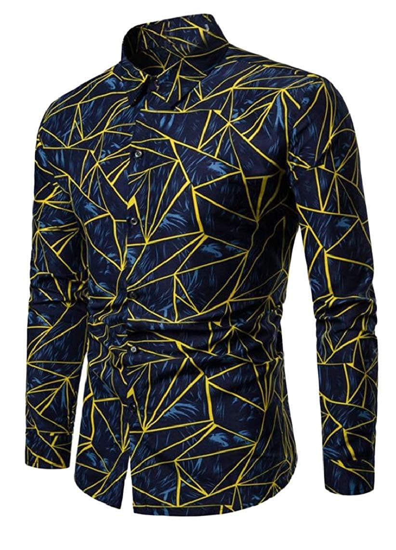 Jmwss QD Mens Tops Slim Long Sleeve Print Pattern Button Front Shirts