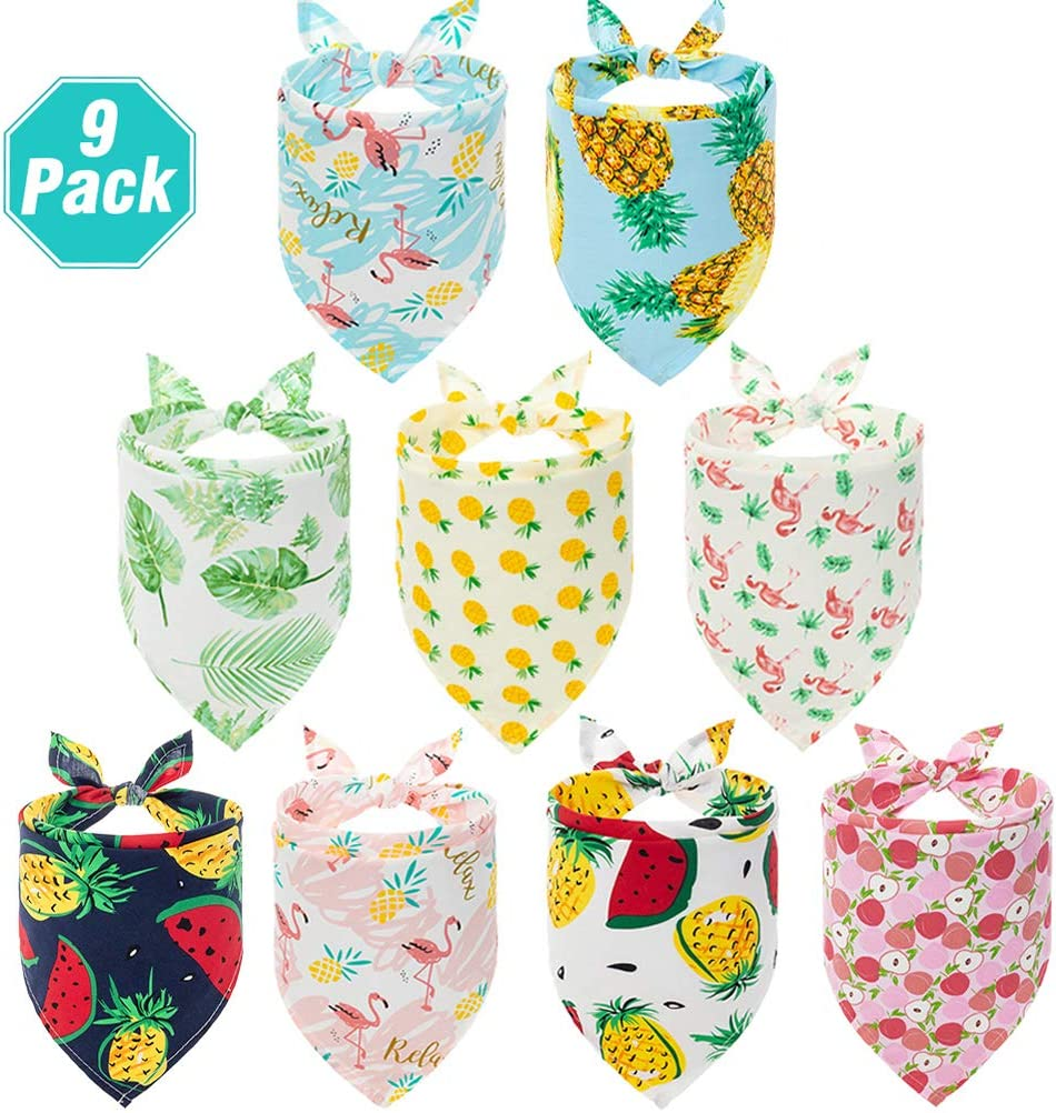PAWCHIE Cute Dog Bandana 9 Pack - Flower & Fruit Pattern Cooling Summer Style - Soft Dog Triangle Scarfs for Pet Puppy Boys & Girls