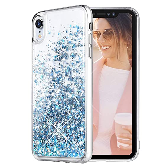 blue glitter iphone xr case