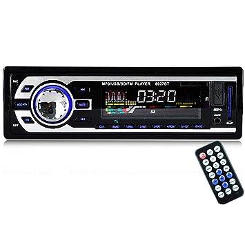 Vococal - 12V Altavoz del Coche de Bluetooth Radio FM Estéreo Reproductor de Audio MP3 Soporte Manos Libres Llamadas con USB SD Puerto y Mando a Distancia: ...