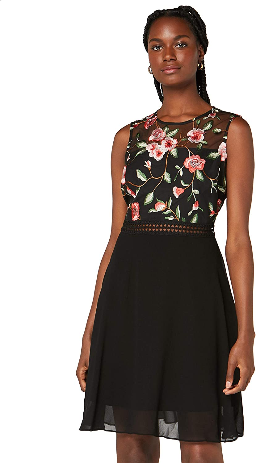 Amazon Brand - TRUTH FABLE Max 76% OFF Women's Discount is also underway Embroidered Rose Dress