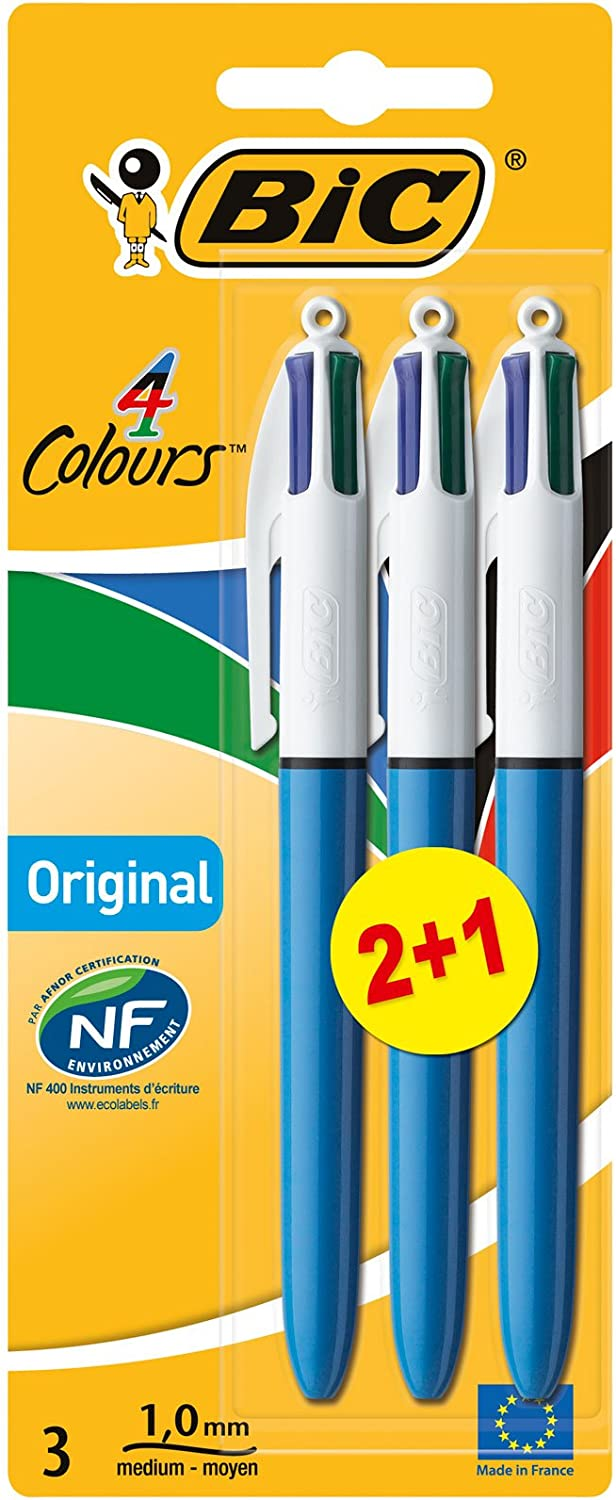 BIC 4 colores Original bolígrafos Retráctiles punta media (1,0 mm) - Blíster de 2+1