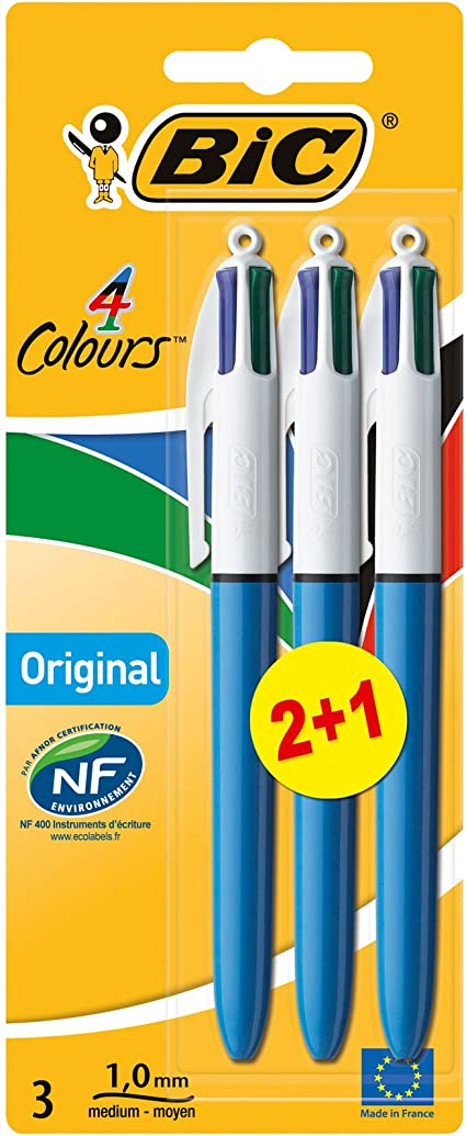 BIC 4 Colores Original Bolígrafos Retráctiles Punta Media (1,0 mm) - Colores Surtidos, Blíster de 2+1 - Tinta negra, azul, roja, y verde: Amazon.es: Oficina y papelería