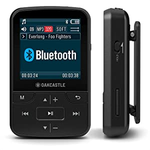 Oakcastle MP200 16GB Mini Portable MP3 Player with Bluetooth, FM Radio, Micro SD Slot, Headphones + Water Resistant Case Included, Expandable up to 128GB, Plays FLAC Files, Ideal for Running & Sports