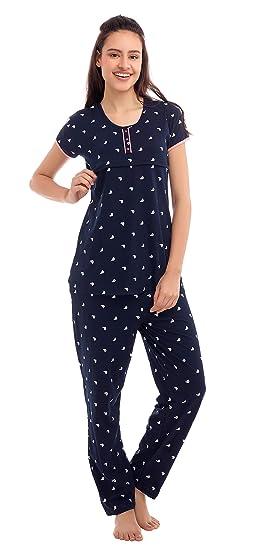 c1c34420d0419 ZEYO Women's Cotton Navy Blue, Pink & Peach Feeding Night Suit,Sail ...