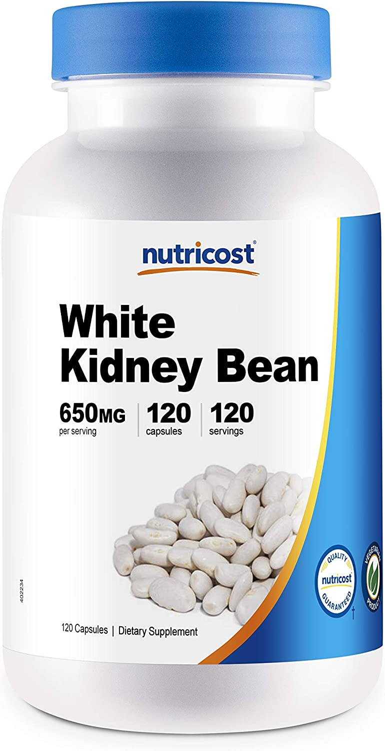 Nutricost White Kidney Beans Capsules 650mg 120 Capsules - Veggie Caps, Gluten Free and Non-GMO