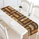 InterestPrint Wine Bottle Cork Table Runner Home Decor 14 X 72 Inch, Unique Vintage Table Cloth Runner for Wedding Party Banquet Decoration