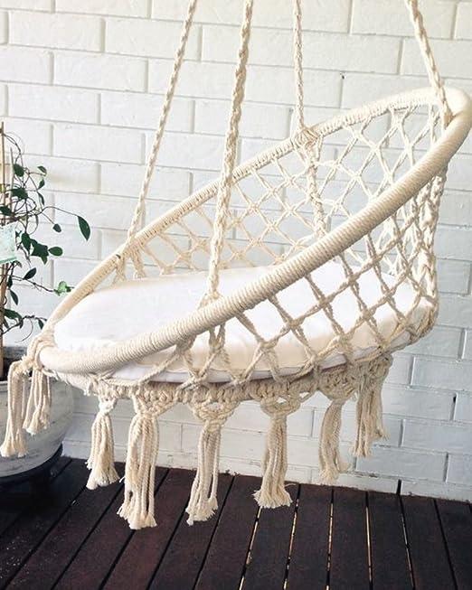 columpio jardín, silla colgante crochet macrame, decoración habitación niños bebe, regalo bebe, boho chic, bohemian, hamaca, columpio, balancin, decoración jardín, silla colgante interior: Amazon.es: Jardín