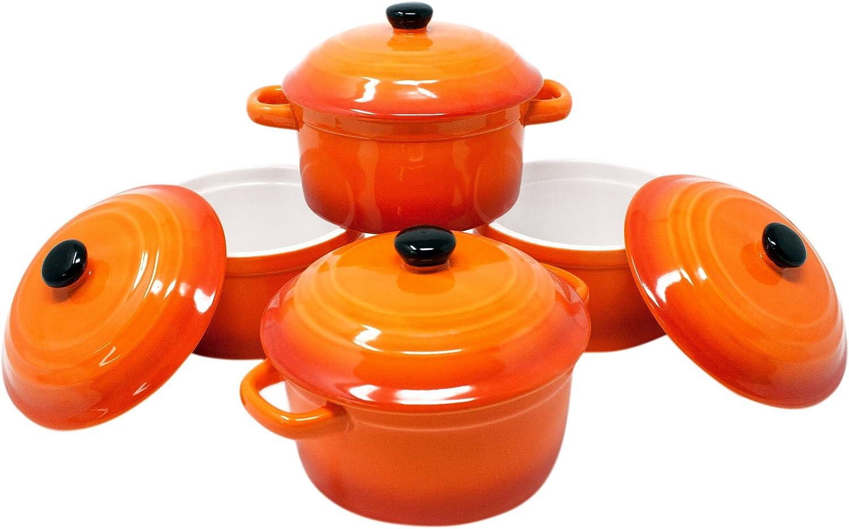 ToCi–Cacerolas con tapa | Mini cazuelas de horno de cerámica 300ml | Moldes redondos de 10x 5cm de diámetro, naranja, rojo y en sets