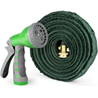 1byone Flat Garden Hose with 7 Function Spray Nozzle and High Pressure, Water Hose