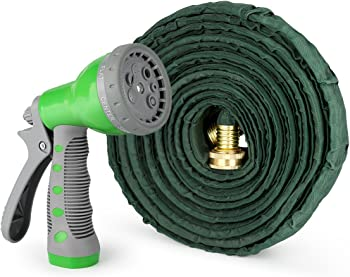 1byone Flat Garden Hose with 7 Function Spray Nozzle