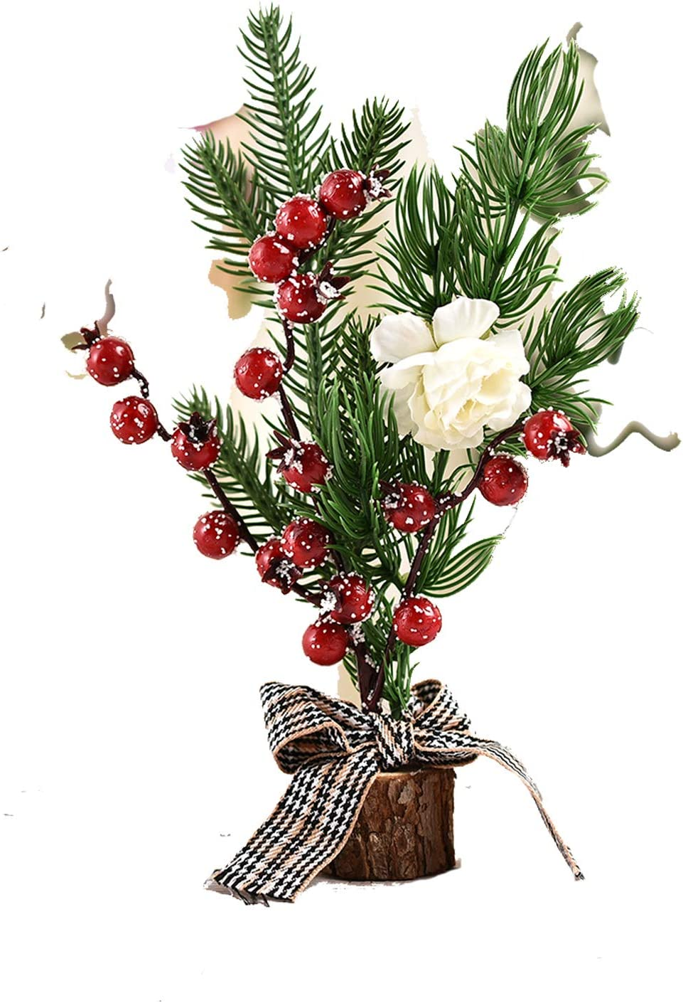 DRYT 9.8Inch Mini Christmas Tree Height Nordic Style Tabletop Wooden Bas White Flowers and red Fruits Mini Christmas Pine Tree