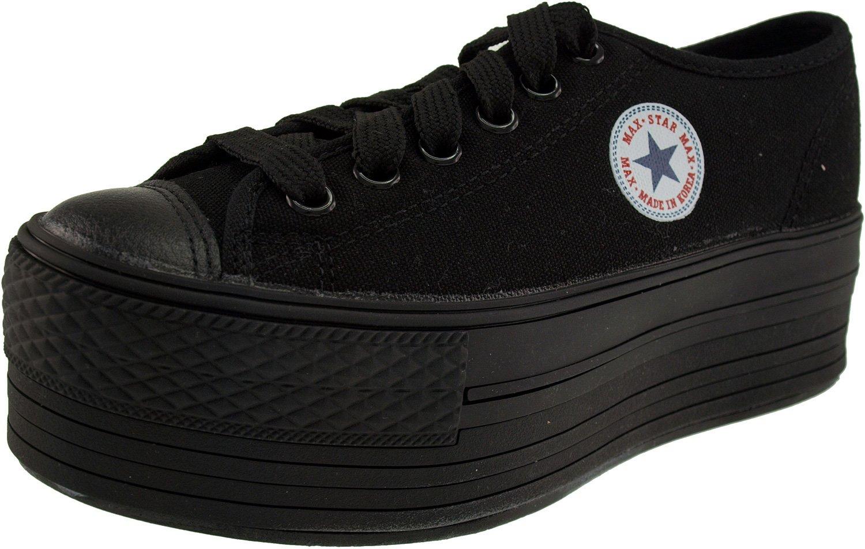 Maxstar Women's C50 6 Holes Platform Canvas Low Top All Sneakers B00L23OU8M 5.5 B(M) US|Black