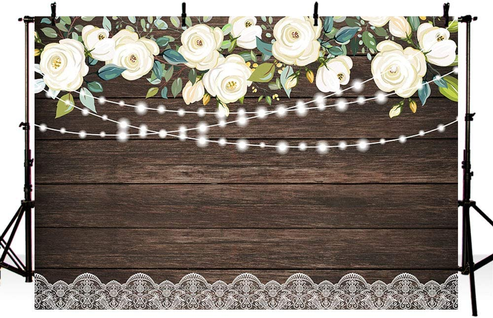 Flower and White Wooden Boards Wedding Baby Photography Background Custom Photography Studio Photography Background