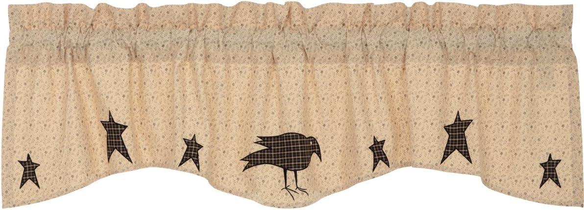 VHC Brands Primitive Kitchen Curtains Prim Grove Crow Rod Pocket Cotton Appliqued Star Valance, Dark Creme Tan