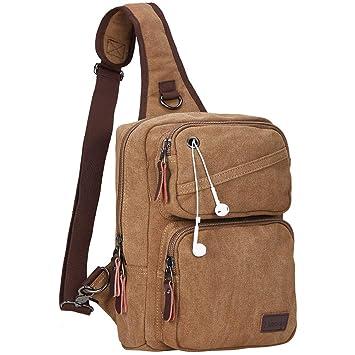 b74b144d44d6 Modoker Men s Messenger Bag Sling Backpack Crossbody Shoulder Canvas Chest  Bag Packs