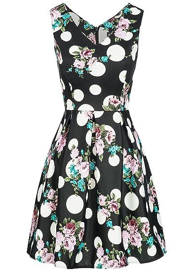 violet Fashion Damen Mini Kleid Blumen & Punkte Muster