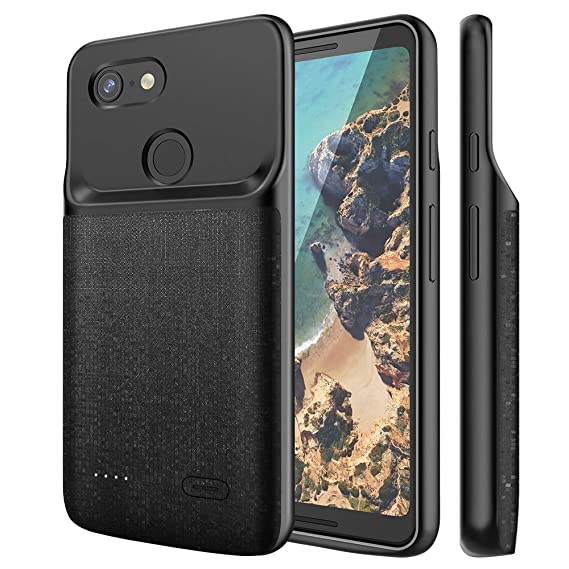 outlet store 3dd4a 46cff NEWDERY Google Pixel 3 XL Battery Case, 4700mAh Slim Extended Charging Case  with TPU Raised Bezels, Rechargeable Charger Case Cover Compatible Google  ...