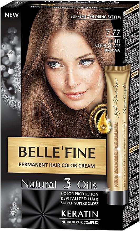 BELLEFINE® - Black Series - Tinte permanente natural - Con 3 aceites y queratina - Castaño chocolate claro