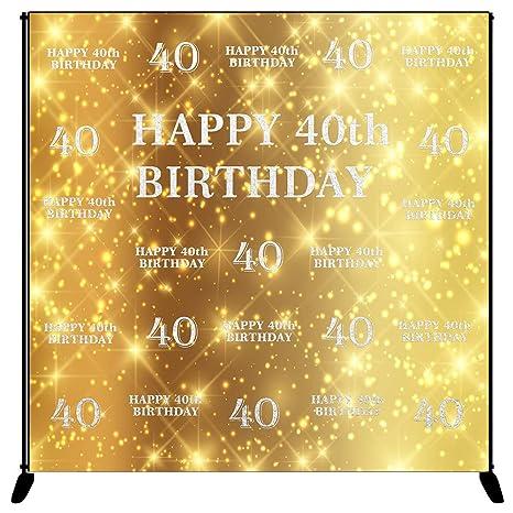 Amazon.com: Mehofoto Happy 40th Birthday Backdrop Gold Silver Step