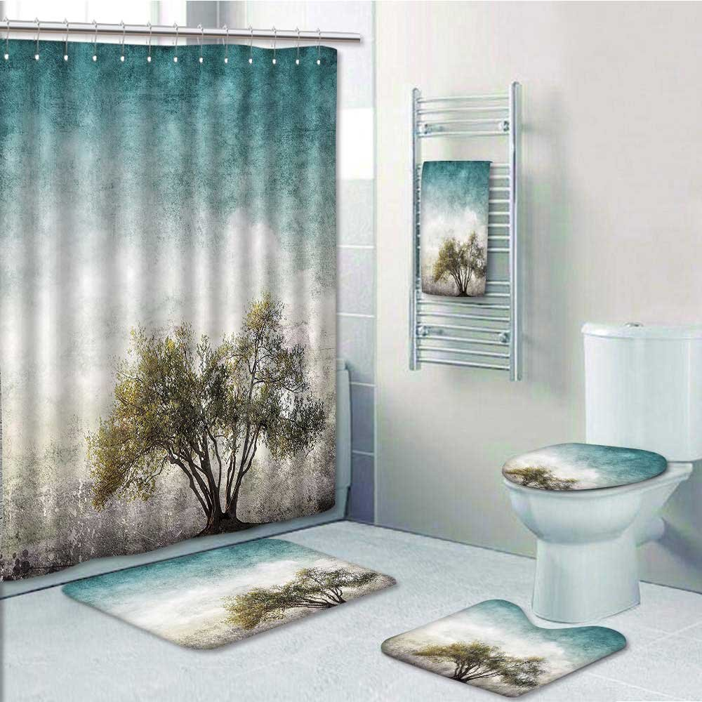 PRUNUS 5-piece Bathroom Set-Includes Shower Curtain Liner, with Single Tree and StainedBackground Rustic Home Teal Green Decorate the bathroom(Large size) well-wreapped
