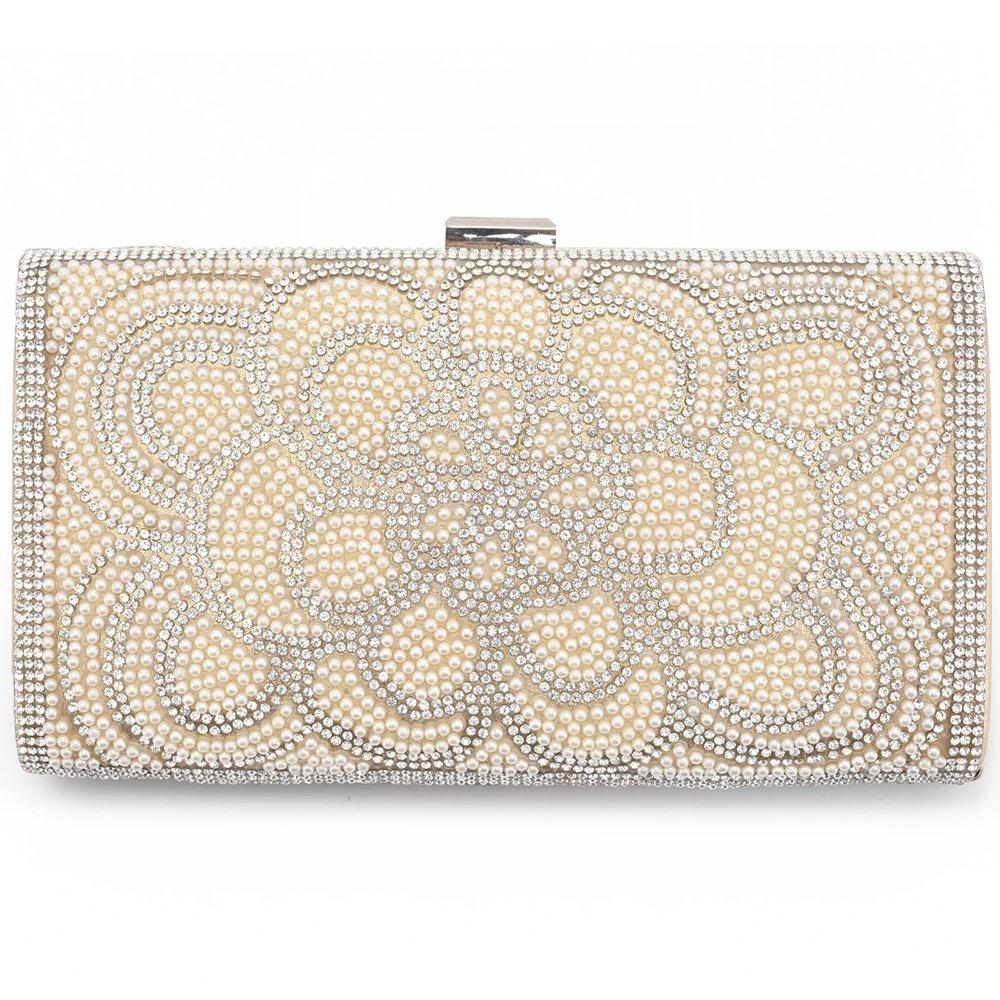 LONGBLE Gold Damen Handtasche mit glitzer Perlen Strasssteine und Schulterketten Hochzeit Weihnachten Neujahr Geburtstag Geschenk für Freundin Mama Mutter