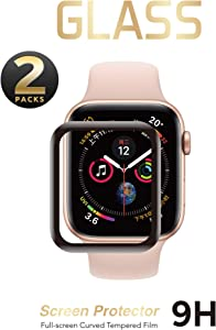 2 Pack - Liquid Tempered Glass Screen Protector Compatible for Apple Watch Full Coverage Protective Foil 9H 2.5D (40mm)