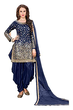 c292d937c Women's Taffeta Silk Fabric Embroidered and Real Mirror Work Patiyala Suit  (LNF085, Blue, 5XL): Amazon.in: Clothing & Accessories