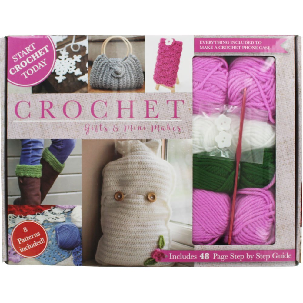 Crochet Gifts And Mini Makes Box Set with 8 Patterns & All You Need To Crochet Whitecroft