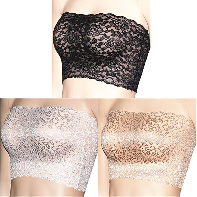 b4fdbeacc4b CENG MAU Women s Plus Size Floral Lace Unlined Stretchy Strapless See  Through Bandeau Tube Top(