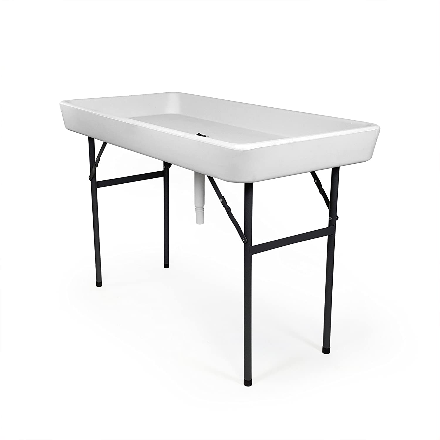RecPro 4 Foot Cooler Ice Table Party Ice Folding Table with Matching Skirt – White