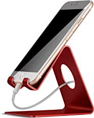 Lamicall Cell Phone Stand, Phone Dock : Cradle, Holder, Stand Compatible with Switch, All Android Smartphone, Phone 6 6s 7 8 X Plus 5 5s 5c XS Max XR Charging Accessories Desk - Red
