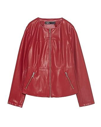 Zara 3046/242/600 - Chaqueta de Piel sintética para Mujer - Rojo ...