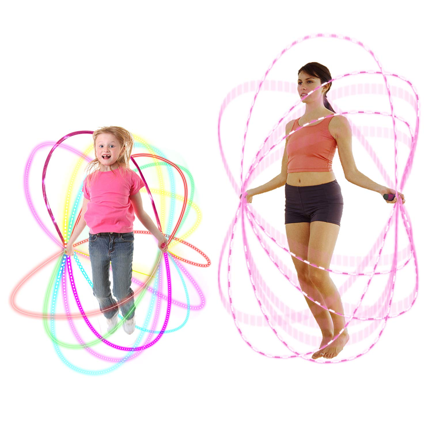 HongMe Jump Rope - Led Rope Light - 7 Foot Skipping Rope for Kids Jumping Exercise and Night Fun Party Favors, Chinese Jump Rope Pink Gifts for Girls (2 Pack- Pink and Red) by HongMe