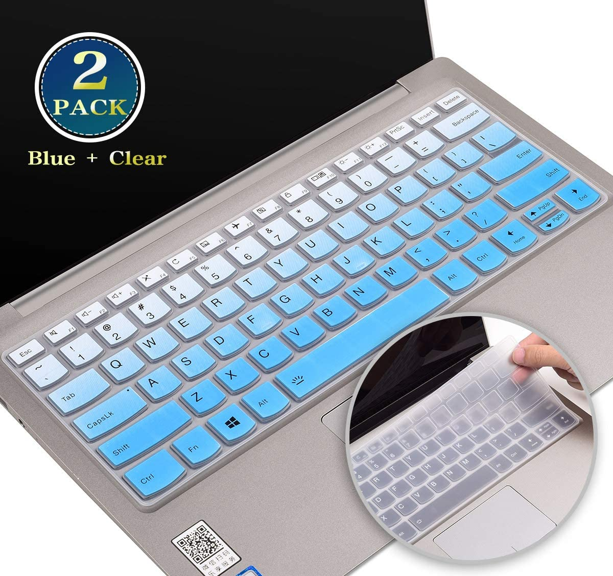 "for Lenovo Keyboard Cover Fit Lenovo Yoga 720 720s 730 13.3, Lenovo Yoga 730 15.6, Lenovo Yoga C940 C740 C930 13.9"", Lenovo Flex 15/Flex 14,Lenovo Ideapad 720s 13 Skin Protector(Blue+Clear)"