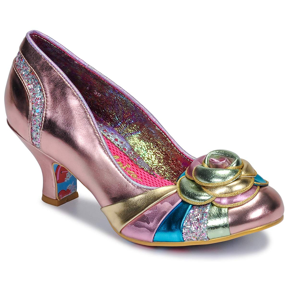 B Kids Girls Black gold ballerina Shoes Irregular Choice Spinning Top