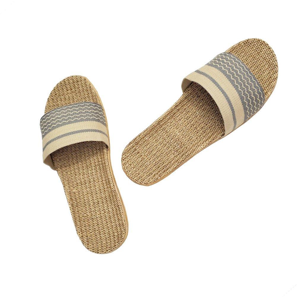 HRFEER Home Slippers Women Linen Indoor Shoes Men Beach Slipper Silent Flip Flops for Women Sandals by HRFEER (Image #3)