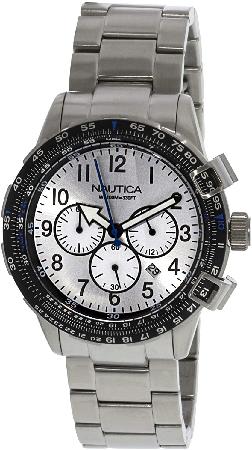 Nautica Men s N24006G BFC 44 Silver Stainless Steel Bracelet and Case with Silver Dial Watch