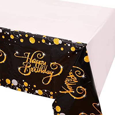 """6 Pack Happy 90th 80th 70th 60th 50th 40th 30th Birthday Tablecloths,Black and Gold Dot Confeti Plastic Table Covers for Party Supplies Decoration - 52"""" x 90"""": Health & Personal Care"""