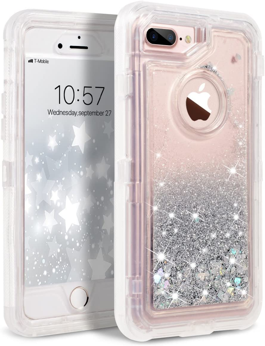 Dexnor iPhone 8 Plus Case, iPhone 7 Plus Case, Glitter 3D Bling Sparkle Flowing Liquid Case Transparent 3 in 1 Shockproof TPU Silicone + PC Cover for iPhone 8 Plus/ 7 Plus/6s Plus/6 Plus - Silver
