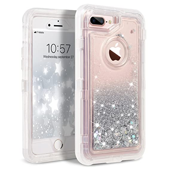 amazon com iphone 8 plus case, iphone 7 plus case, dexnor glitteriphone 8 plus case, iphone 7 plus case, dexnor glitter 3d bling sparkle flowing liquid case transparent 3 in 1 shockproof tpu silicone pc cover for iphone