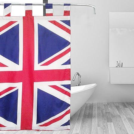 Minni Rossa UK British Flag Shower Curtain Polyester Fabric Water Repellent Kids Bathroom Children