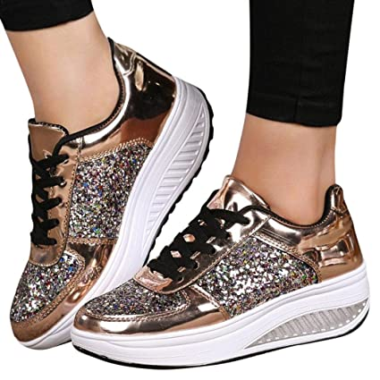 Haoricu Clearance Sport Shoes Women s Ladies Platform Wedges Outdoor  Walking Sneakers Sequins Shake Fashion Girls Shoes 61d64f16fc97
