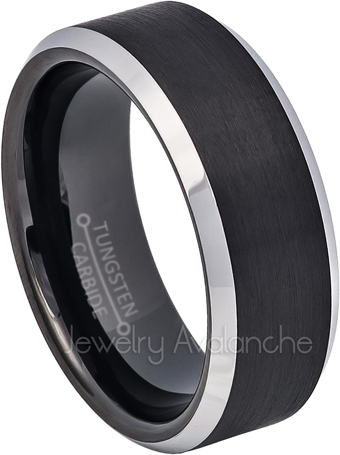 Jewelry Avalanche 2-Tone Tungsten Wedding Band 8mm Brushed Black IP Comfort Fit Beveled Tungsten Carbide Ring