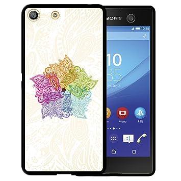 WoowCase Funda Sony Xperia M5, [Sony Xperia M5 ] Funda Silicona Gel Flexible Mándala Colorida, Carcasa Case TPU Silicona - Negro
