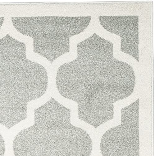 Safavieh Amherst Collection AMT420B Moroccan Geometric Area Rug, 8 x 10 , Light Grey Beige