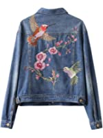 Women fashion vintage floral bird animal single-breasted embroidered denim  jacket loose long sleeve drop